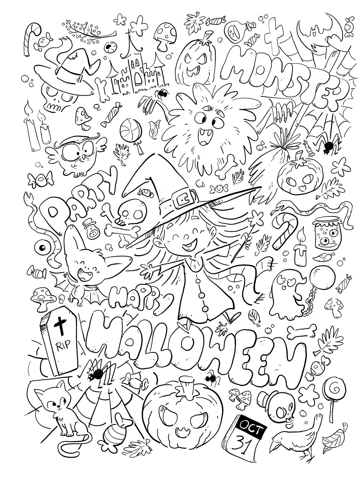 black and white halloween concepts pattern