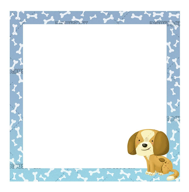 bone frame with dog