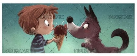 boy and dog eating ice cream with texture background