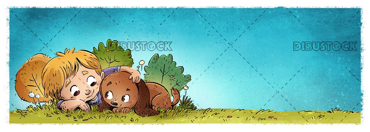 boy and dog in the field hidden with nature background