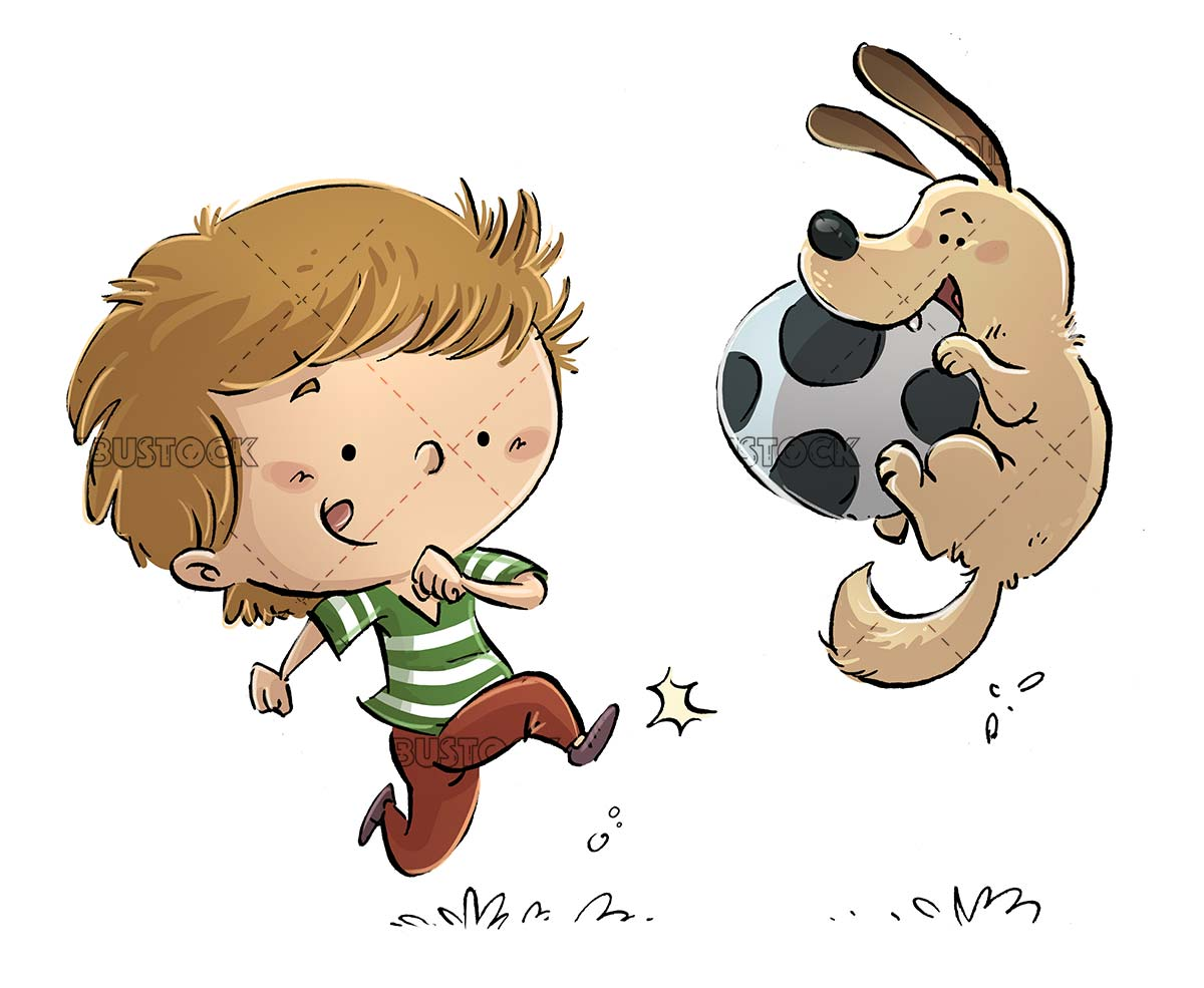 boy and dog playing ball with isolated background