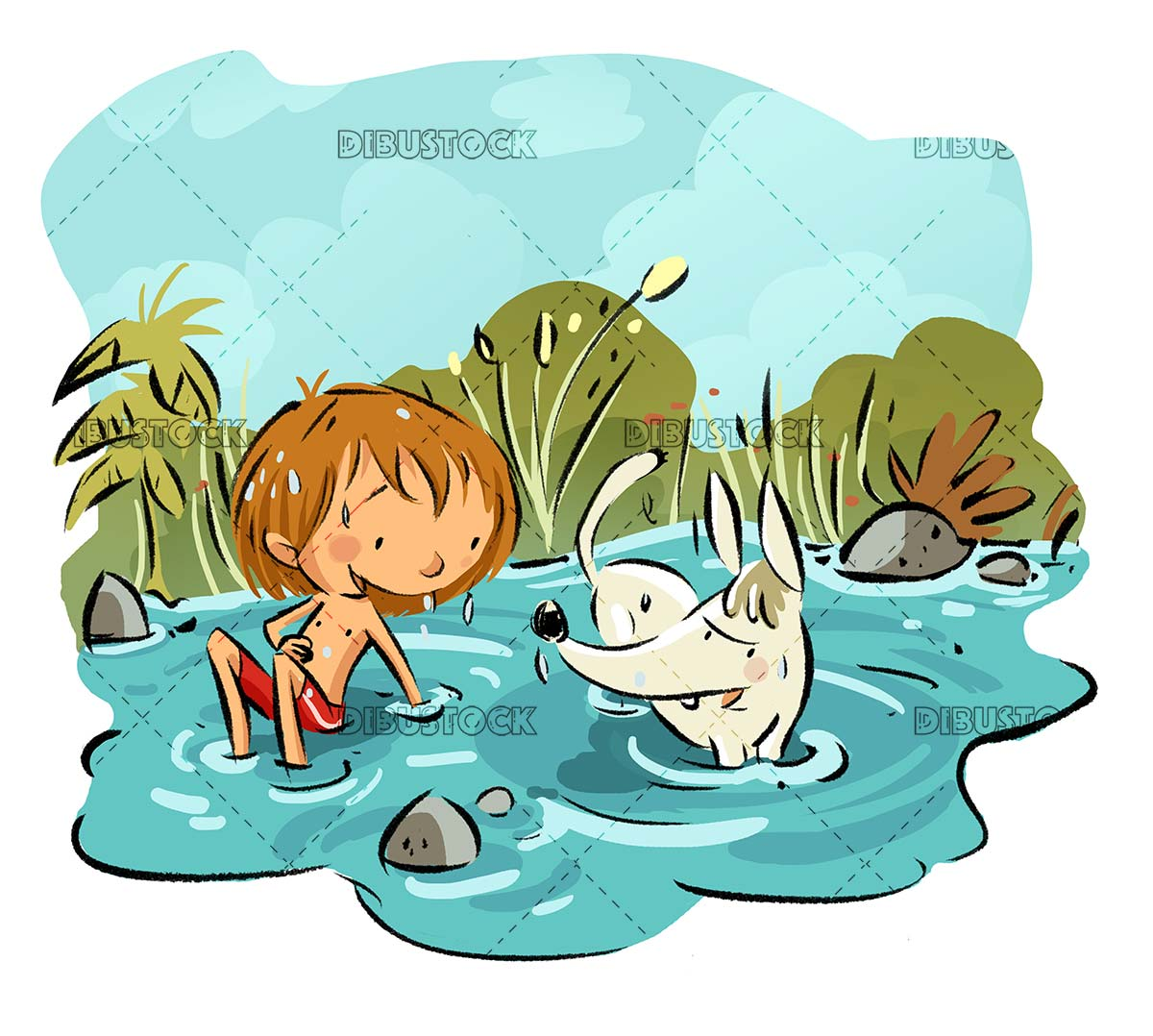 boy and dog playing in the lake