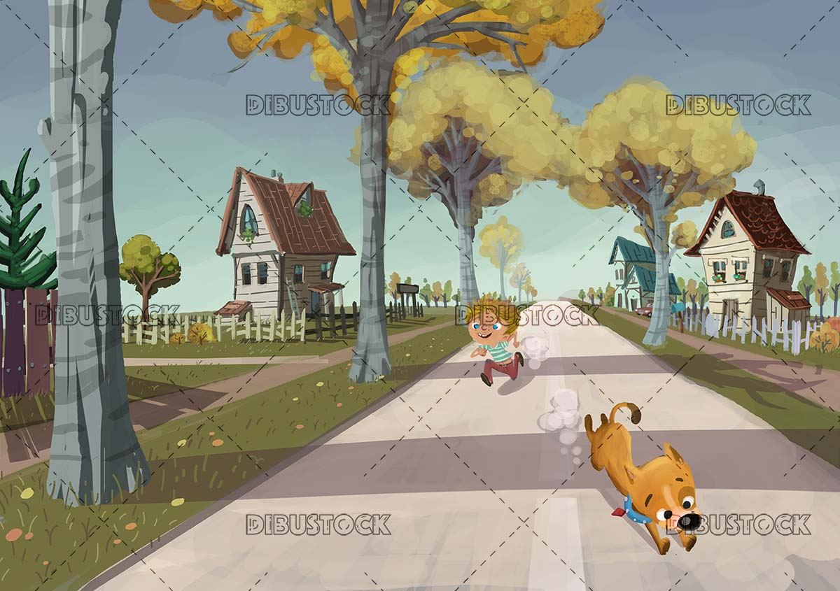 boy and dog running down the street of a town with houses