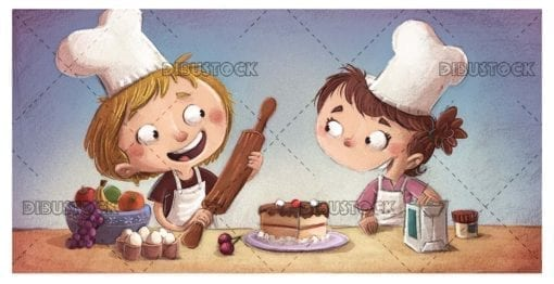 boy and girl cooking a cake with all its ingredients