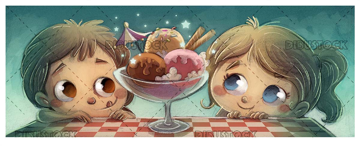 boy and girl looking at a glass of flavored ice cream