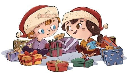 boy and girl looking at gifts with christmas hat on isolated background