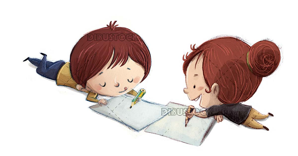 boy and girl lying down drawing with pencil and paper on isolated background