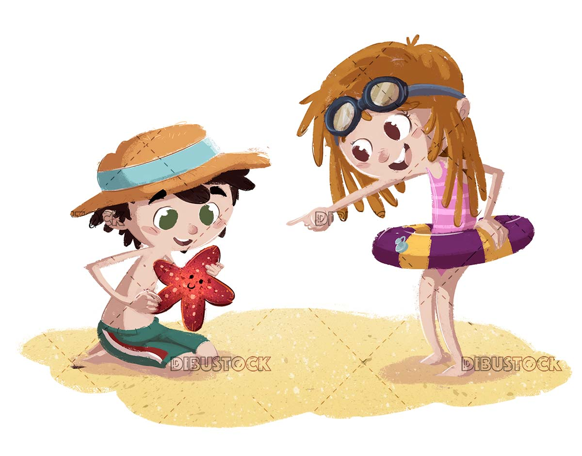 boy and girl on the beach with float and starfish in hand