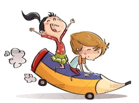 boy and girl riding is a giant pencil shaped car