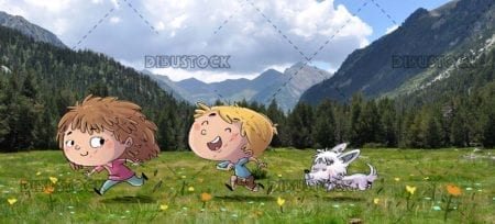 boy and girl running with their dog in the meadow with mountains in the background