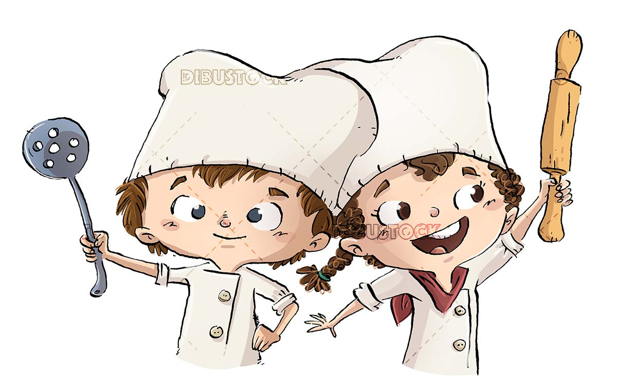 boy and girl with chefs clothes