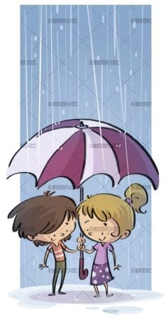 boy and girl with umbrella under the rain
