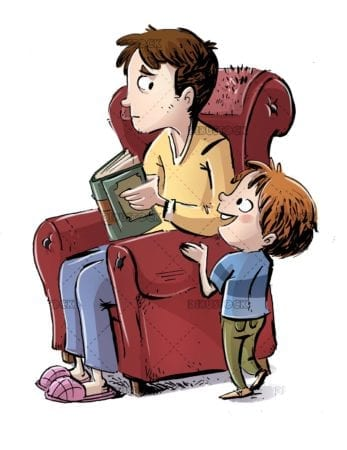 boy asking his father who is in the armchair