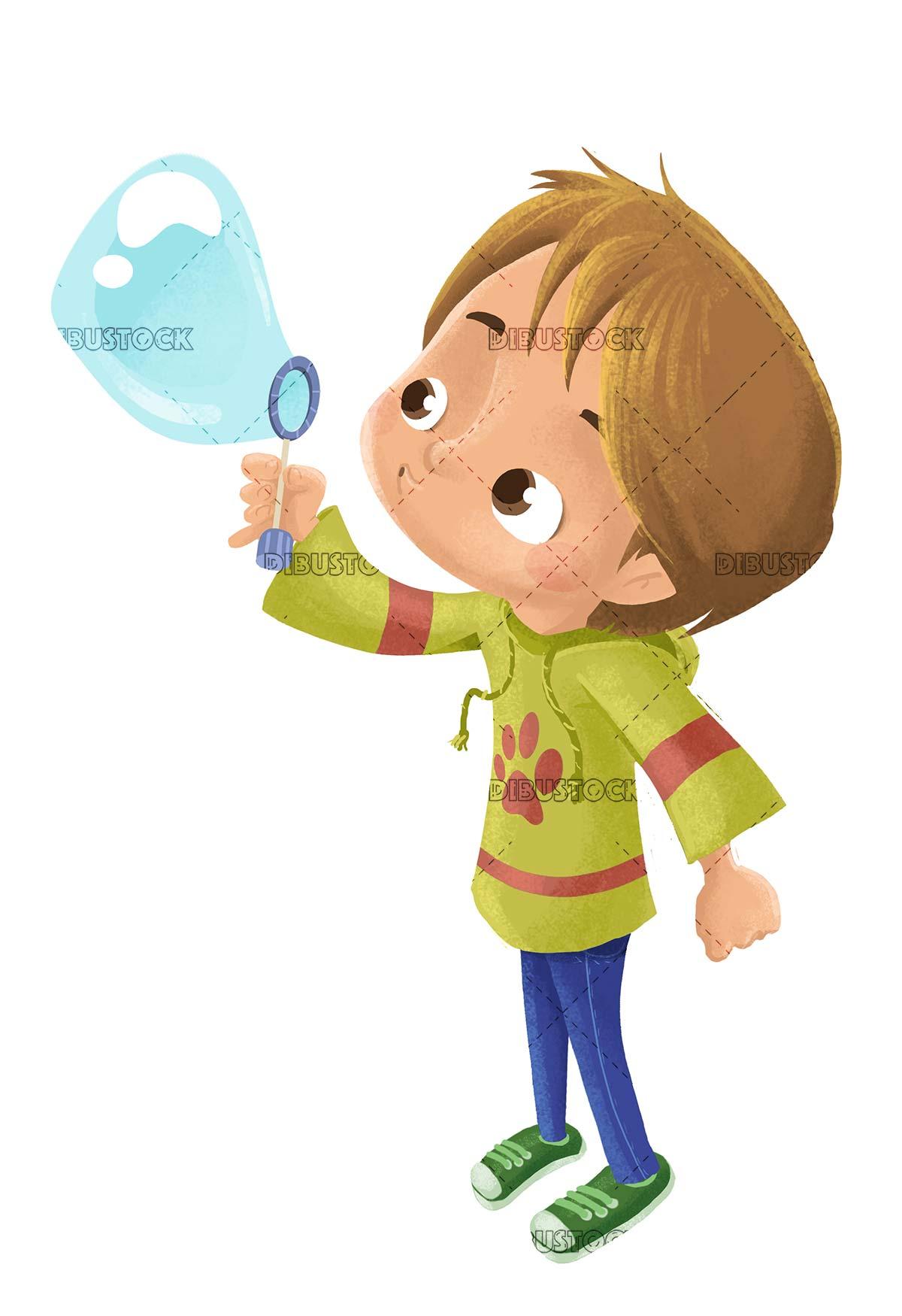 boy blowing soap bubbles 1