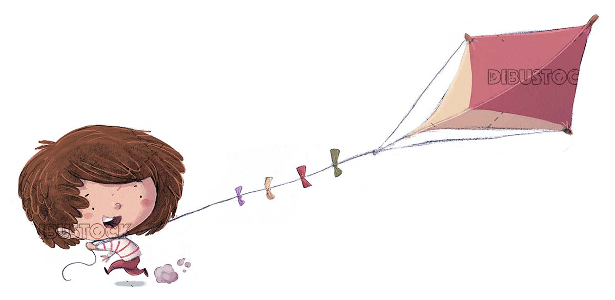 boy carrying a triangular kite on isolated background