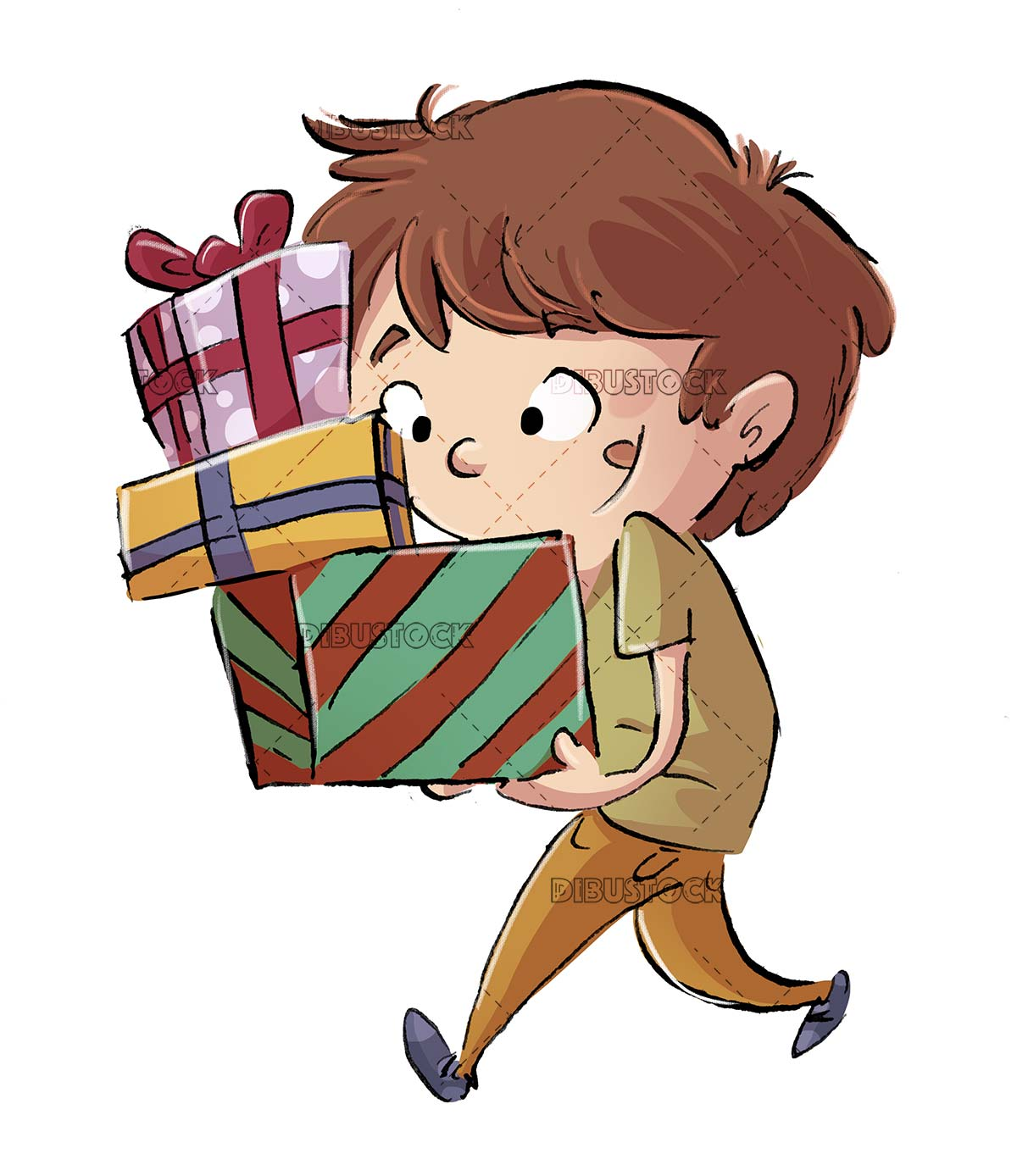 boy carrying several gift boxes