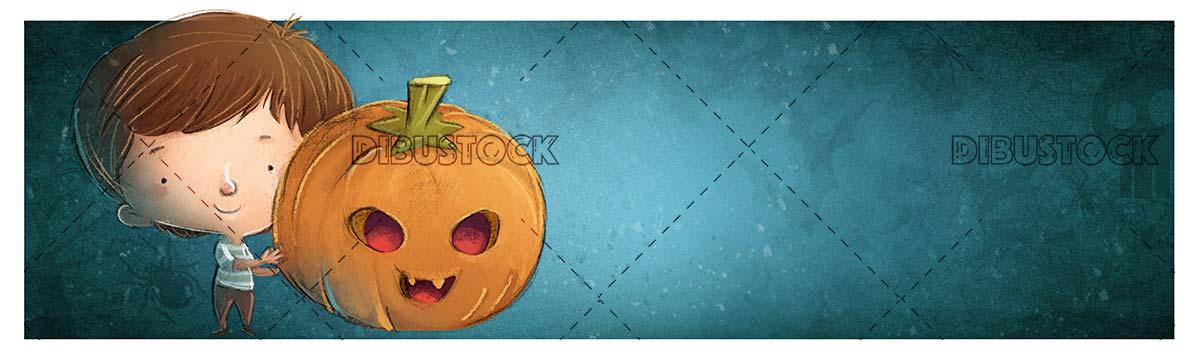 boy catching a big halloween pumpkin on blue background
