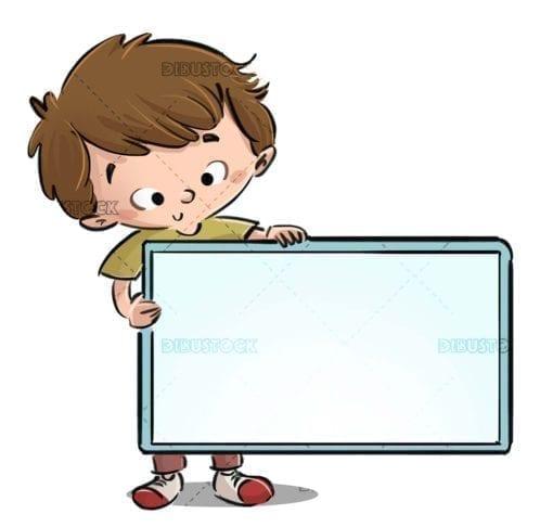 boy catching a blue rectangular sign