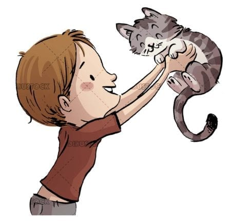 boy catching his gray cat in his arms on white background