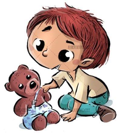 boy catching his teddy bear