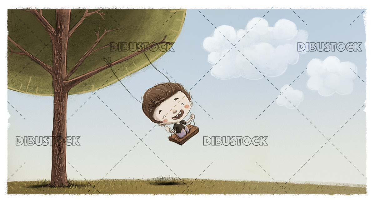 boy climbed on a swing holding a tree in a nature landscape