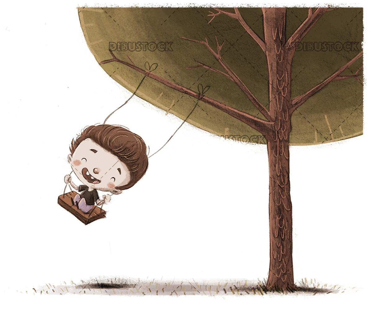 boy climbed on a swing holding a tree