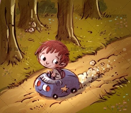 boy crossing the forest in small car