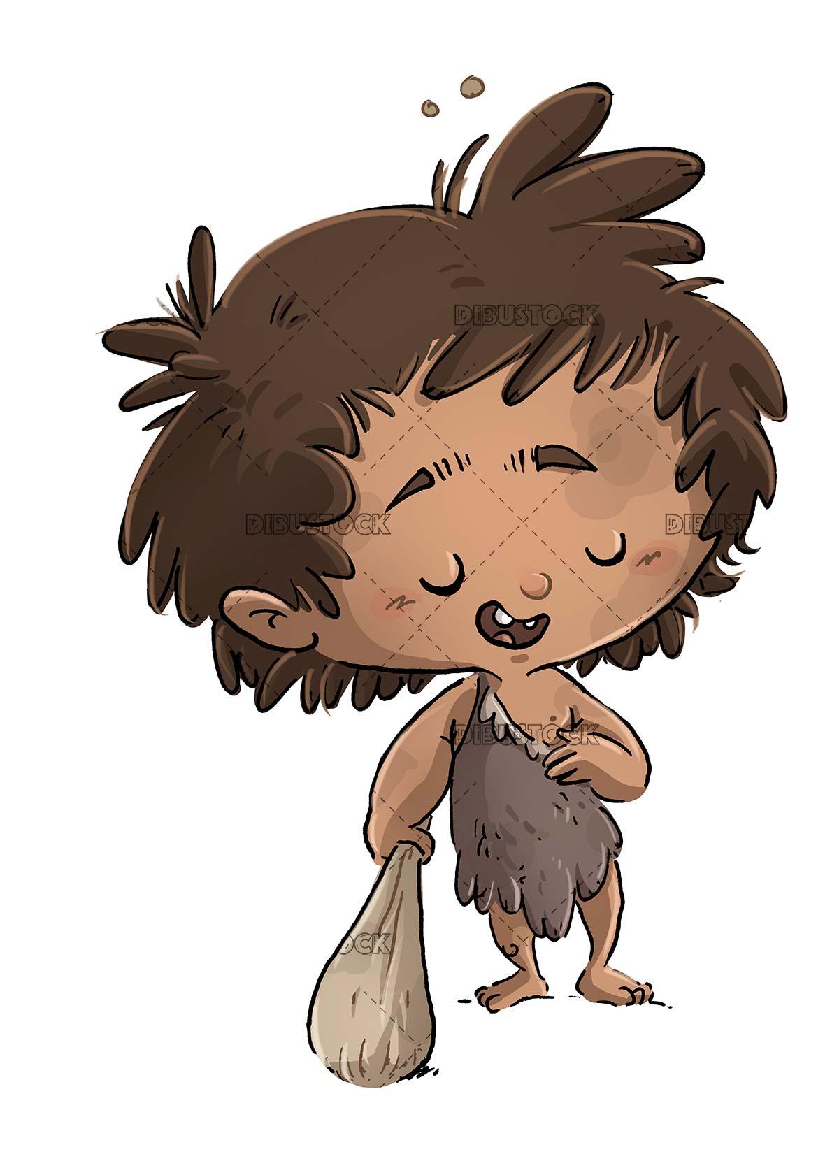 boy dressed as a caveman