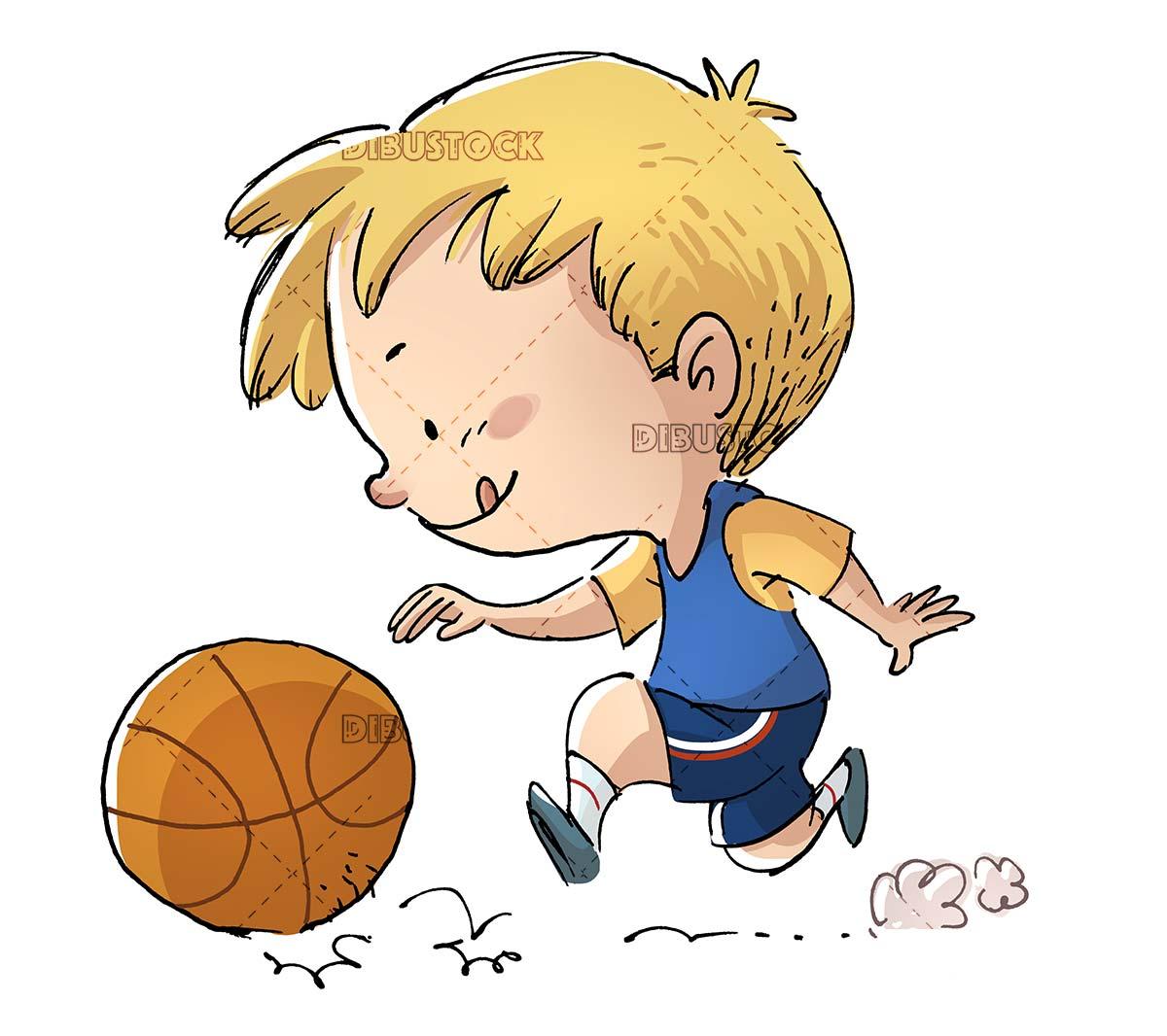 boy dribbling the ball while playing basketball