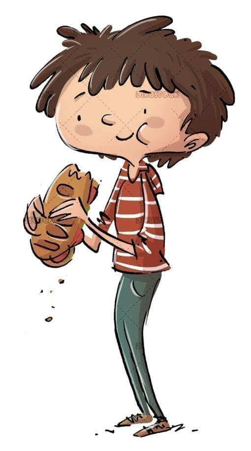 boy eating a delicious sandwich