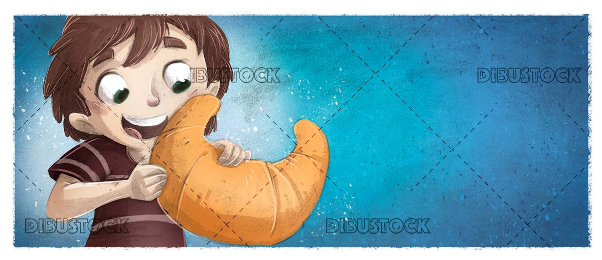 boy eating a giant croissant and textured blue background