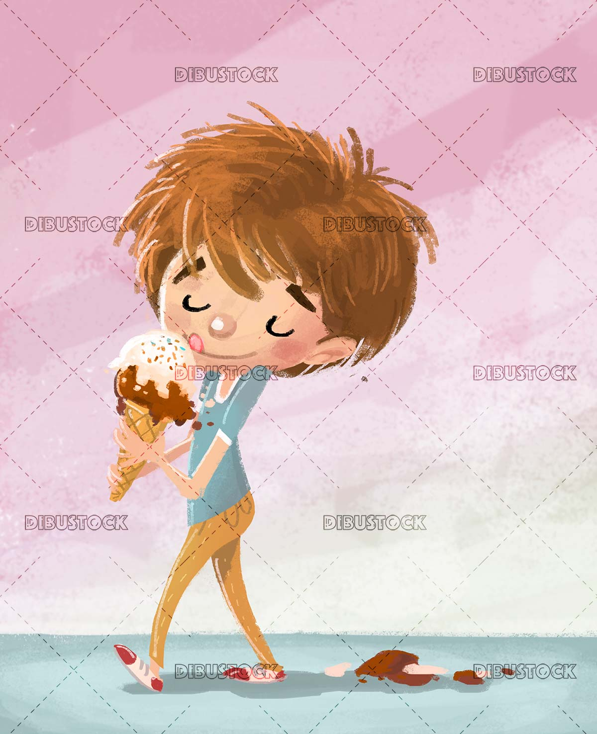 boy eating a rich ice cream with texture background