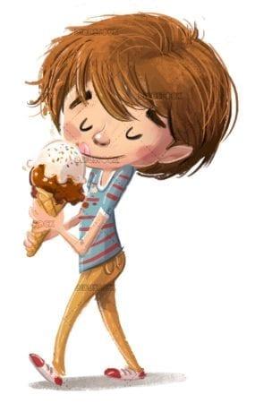boy eating an ice cream cone while walking