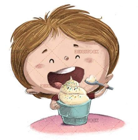 boy eating an ice cream tub