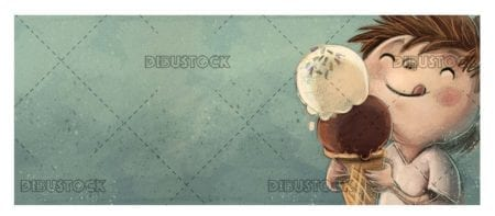 boy eating ice cream with two balls textured background
