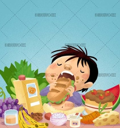boy eating surrounded by food