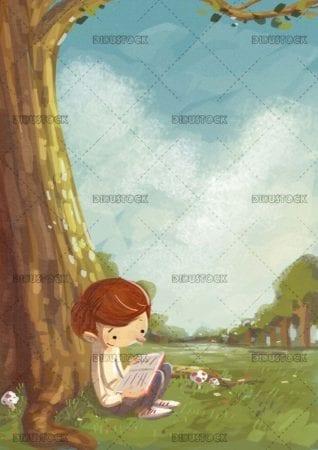 boy enjoying reading under a tree