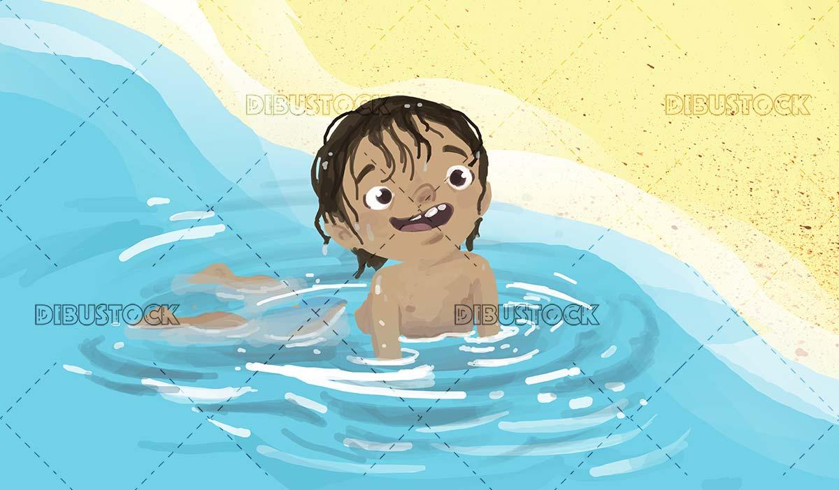 boy enjoying the water on the beach