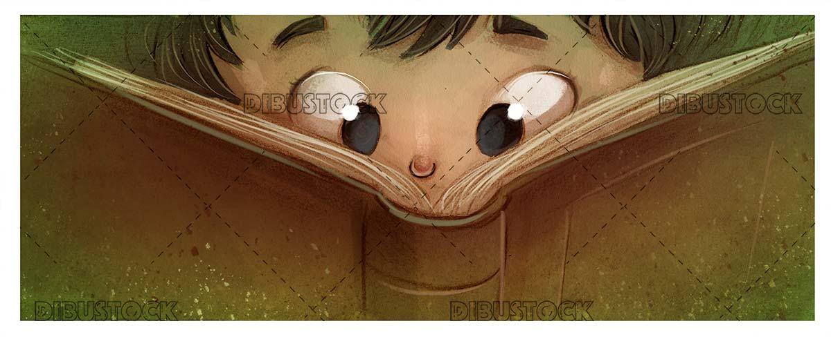 boy eyes looking at a big book