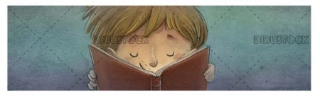 boy face reading his book with textured background 1