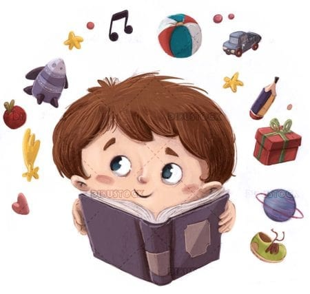 boy face with book in hands imagined