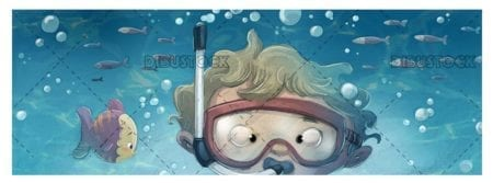 boy face with glasses diving under the sea
