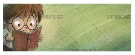 boy face with glasses reading on green textured background 1
