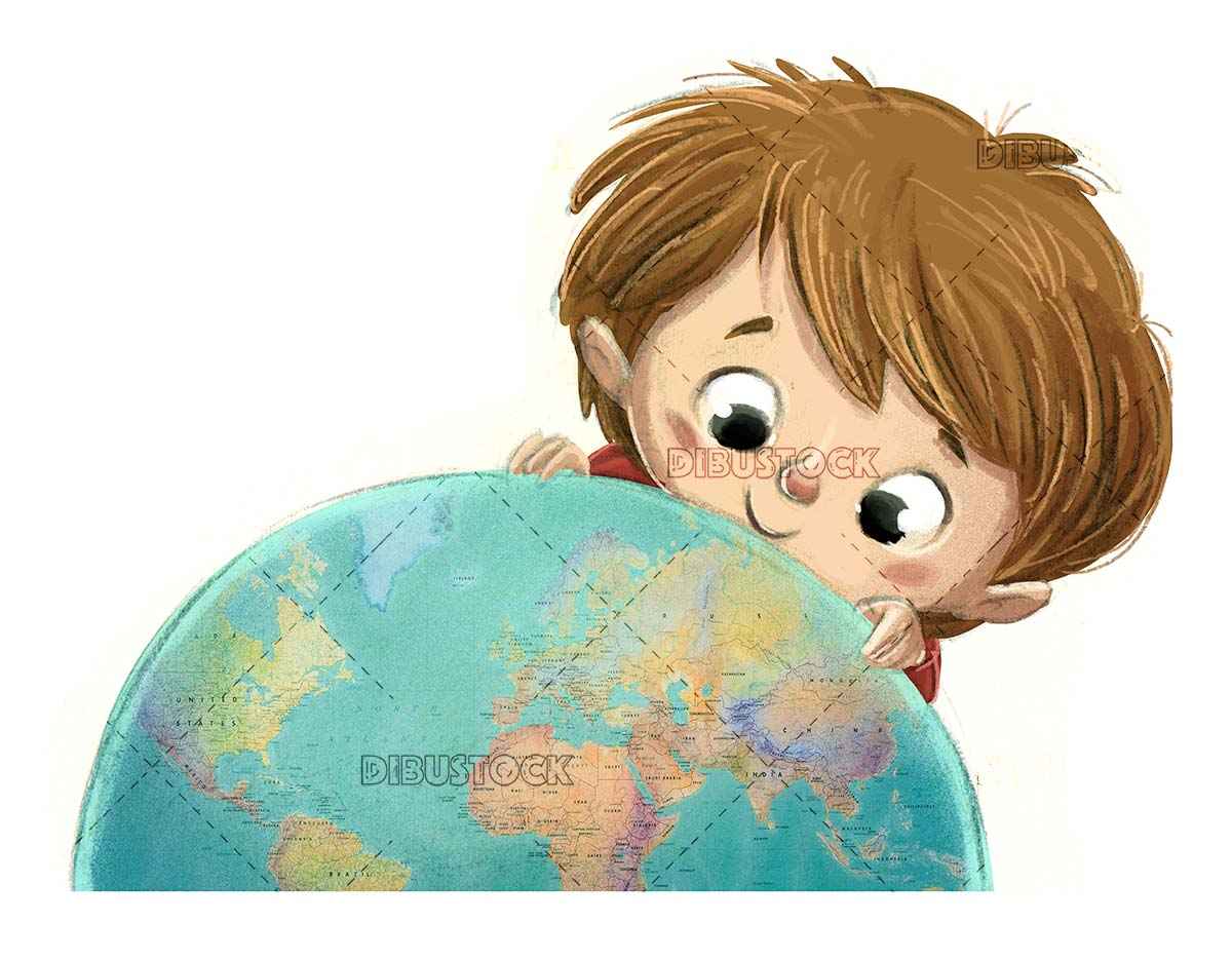 boy face with planet earth and isolated background