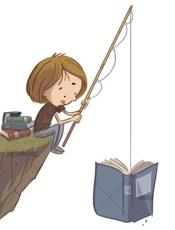 boy fishing a book with isolated background
