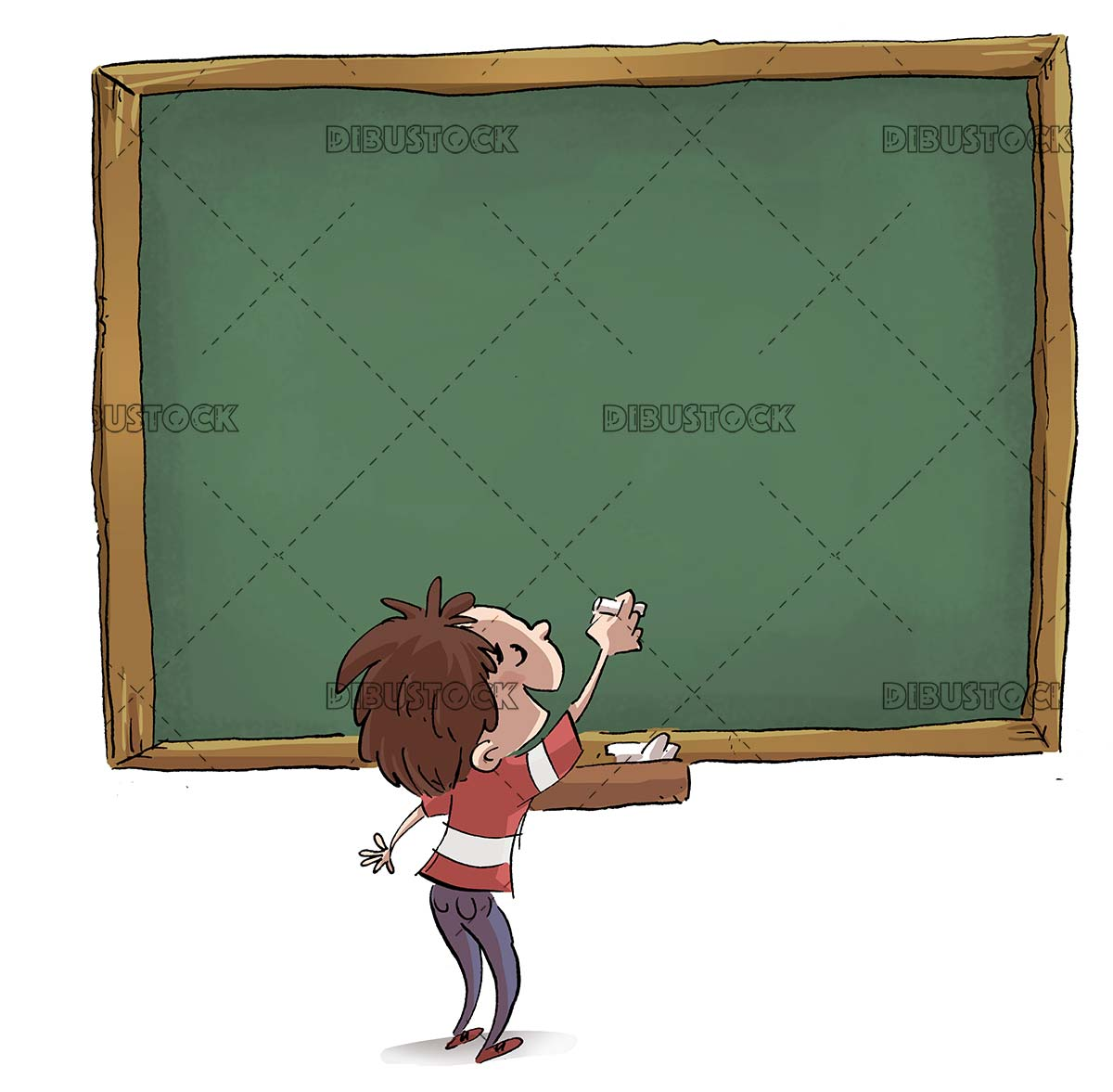 boy from the back writing on the blackboard with isolated background