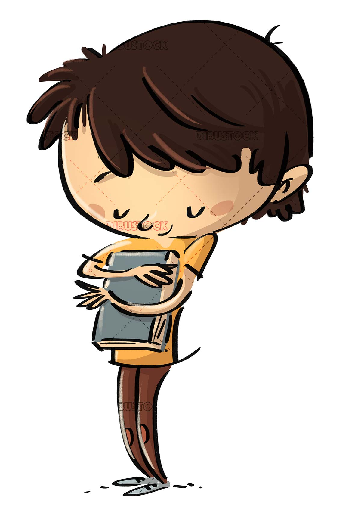 boy hugging a book with love