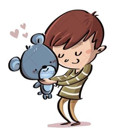 boy hugging his teddy bear with love