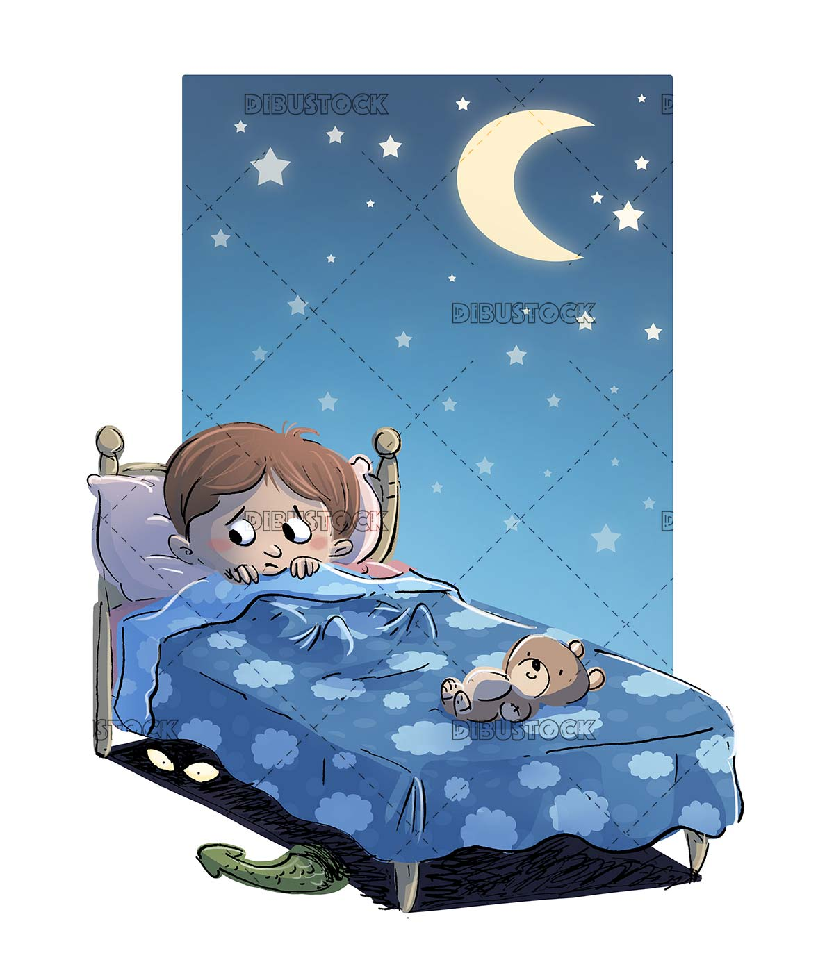 boy in bed at night afraid of monsters