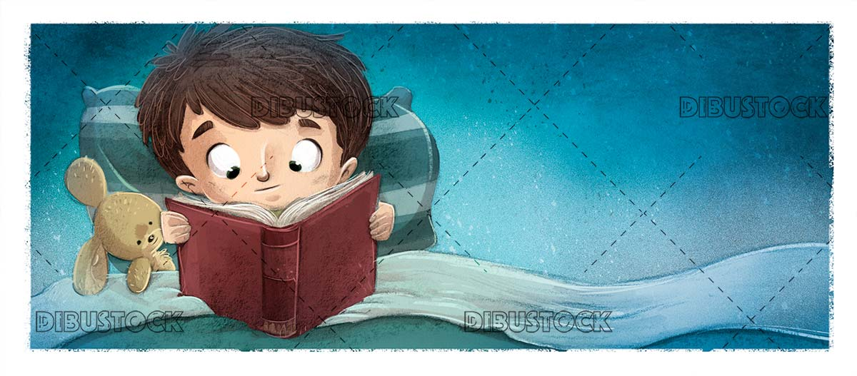 boy in bed reading a book with his stuffed animal at night